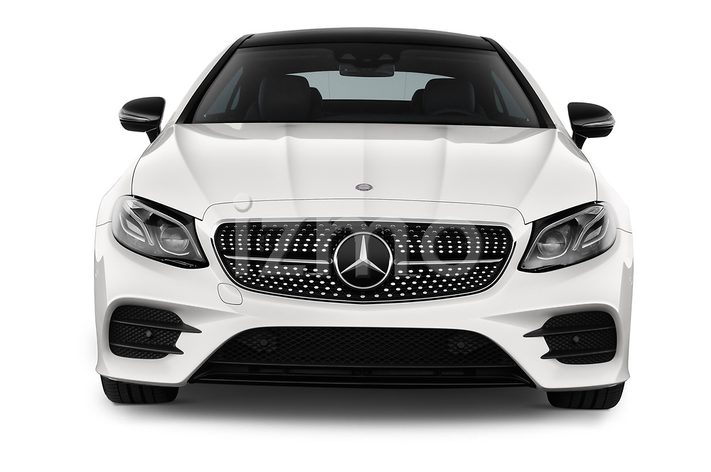 Car photography straight front view of a 2017 Mercedes Benz E Class AMG Line 2 Door Coupe