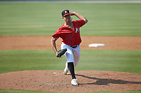 Kannapolis Intimidators relief pitcher Andrew Perez (14) in action against the Hickory Crawdads at Kannapolis Intimidators Stadium on June 2, 2019 in Kannapolis, North Carolina. The Intimidators defeated the Crawdads 4-3. (Brian Westerholt/Four Seam Images)