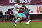 29.07.2017, Fritz Detmar Stadion, Lohne, GER, FSP SV Werder Bremen (GER) vs WestHam United (ENG), <br /> <br /> im Bild<br /> <br /> Robert Bauer (Werder Bremen #4)<br /> Marko Arnautovic (WestHam)<br /> <br /> Foto &copy; nordphoto / Kokenge