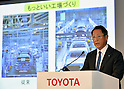 May 11, 2016, Tokyo, Japan - President Akio Toyoda of Toyota Motor Corp., briefs the media at its head office in Tokyo on Wednesday, May 11, 2016, following the release of the earnings report. The worlds biggest automaker expects its group operating profit to drop 40.4 percent to 1.7 trillion yen , the first fall in five years. Net profit is projected at 1.5 trillion yen, down 35.1 percent, as revenue will likely fall 6.7 percent to 26.5 trillion yen.(Photo by Natsuki Sakai/AFLO) AYF -mis-