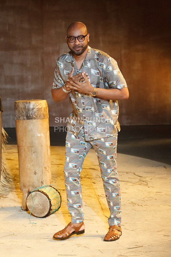 Fashion designer Teddy Ondo Ella thanks audience for attending his Teddy Ondo Ella Spring Summer 2018 collection fashion show at Art Beam on July 10, 2017; during New York Fashion Week: Men's Spring Summer 2017.