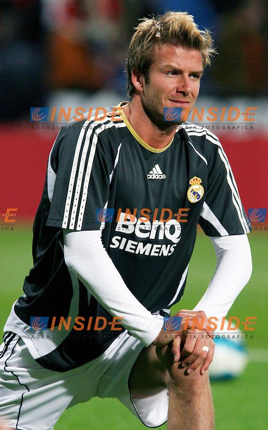 Real Madrid's David Beckham warms up before Spain's La Liga match at Santiago Bernabeu stadium in Madrid, Saturday February 17, 2007. (INSIDE/ALTERPHOTOS/Alvaro Hernandez).