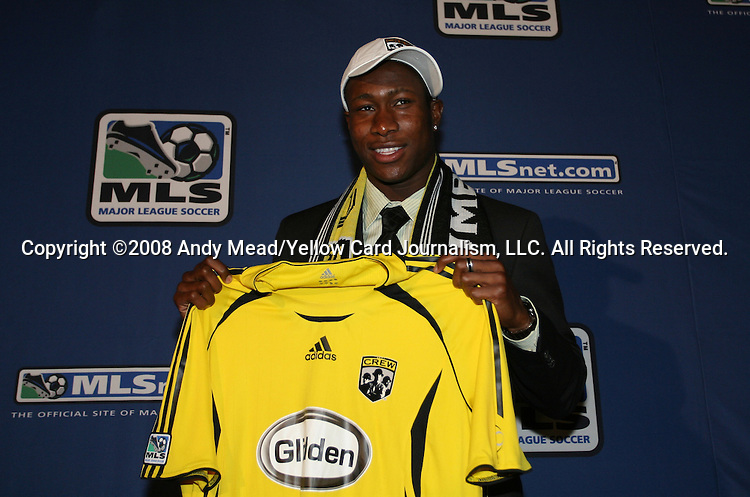 18 January 2008: Andy Iro was taken by the Columbus Crew with the sixth overall pick. The 2008 Major League Soccer SuperDraft was held at the National Soccer Coaches Association of America's annual convention was held at the Convention Center in Baltimore, Maryland.
