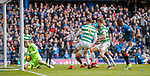 11.3.2018 Rangers v Celtic:<br /> Scott Bain saves from Alfredo Morelos