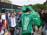 Fans aus Saudi-Arabien sind zur Eröffnung der Fußball WM angekommen - 14.06.2018: Russland vs. Saudi Arabien, Eröffnungsspiel der WM2018, Luzhniki Stadium Moskau