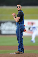Moonshiner Josh throws out the first pitch before a game between the Huntsville Stars and the Tennessee Smokies at Smokies Park on April 25, 2014 in Kodak, Tennessee. The Stars defeated the Smokies 15-1. (Tony Farlow/Four Seam Images)