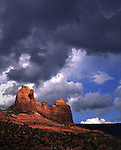 Rocky landscape and stormy sky in USA