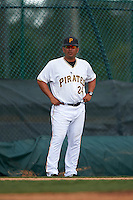 GCL Pirates manager Milver Reyes (24) during the second game of a doubleheader against the GCL Yankees 2 on July 31, 2015 at the Pirate City in Bradenton, Florida.  The game was suspended after two innings due to rain.  (Mike Janes/Four Seam Images)