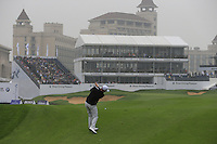 Michael Hoey (NIR) plays his 2nd shot on the 18th hole during Saturay's Round 3 of the 2014 BMW Masters held at Lake Malaren, Shanghai, China. 1st November 2014.<br /> Picture: Eoin Clarke www.golffile.ie