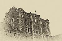 A scenic B&W view of Doune Castle in Scotland