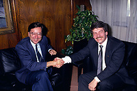 File Photo - Montreal Mayor Jean Dore (R) meet Quebec Premier Robert Bourassa (L) on December 12,1986.<br /> <br /> Dore has been told he as a terminal pancreas cancer and 3 weeks to live , this September 2014.<br /> <br /> File Photo : Agence Quebec Pressse  - Pierre Roussel