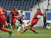 Germany's Mergim Berisha (11) shoots during a soccer game between the national teams Under21 Youth teams of Belgium and Germany on the 5th matday in group 9 for the qualification for the Under 21 EURO 2021 , on tuesday 8 th of September 2020  in Leuven , Belgium . PHOTO SPORTPIX.BE | SPP | SEVIL OKTEM
