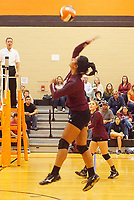 Photo by Randy Moll<br /> Chastery Fuamatu, a Gentry senior, put one across the net during the final regular season game against the Lady Lions at Gravette High School on Thursday (Oct. 12, 2017).