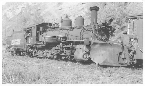 RGS K-27 #461 with plow at Coke Ovens with dismantling train, coupled to caboose #0400.<br /> RGS  Coke Ovens, CO  Taken by Radcliffe, William H. - 9/16/1952