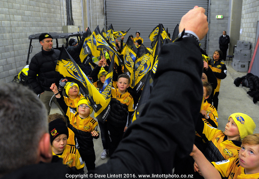 The flagbearers are prepped for the Super Rugby final match between the Hurricanes and Lions at Westpac Stadium, Wellington, New Zealand on Saturday, 6 August 2016. Photo: Dave Lintott / lintottphoto.co.nz