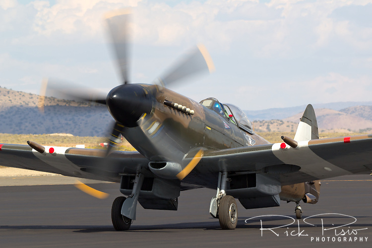 Mk. XIV Supermarine Spitfire taxis on the tarmac at Stead Field in Nevada