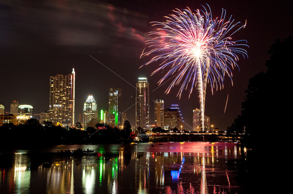 Waterfront Independence Day Fireworks Display over Downtown, Austin, Texas
