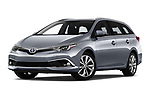 Stock pictures of low aggressive front three quarter view of a 2018 Toyota Auris Touring Sports Lounge 5 Door Wagon