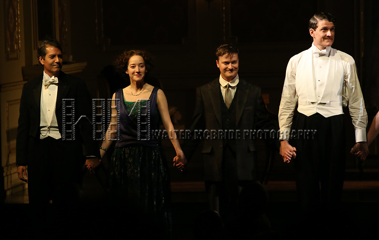 Alfredo Narciso, Brooke Bloom, Steven Boyer and Gabriel Ebertduring the Broadway Opening Night performance Curtain Call Bows for The Roundabout Theatre Company production of 'Time and The Conways'  on October 10, 2017 at the American Airlines Theatre in New York City.