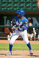 Deivy Castillo (12) of the Ogden Raptors at bat against the Grand Junction Rockies in Pioneer League action at Lindquist Field on July 5, 2015 in Ogden, Utah. Ogden defeated Grand Junction 12-2. (Stephen Smith/Four Seam Images)