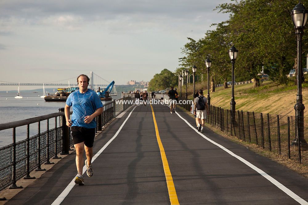 View of 'Riverwalk' the newly opened $15.7 million portion of the Hudson River bike path that connects the promenade from 83rd Street to 91st Street in Manhattan, New York, USA.