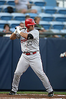 July 9 2009: Vincent DiFazio of the Spokane Indians bats against the Eugene Emeralds at Civic Stadium in Eugene,OR.  Photo by Larry Goren/Four Seam Images