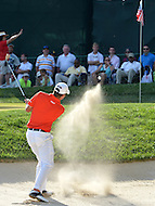 Bethesda, MD - June 29, 2014:  Ben Martin holes out a bunker shot for birdie on the 17th hole during the Final Round of the Quicken Loans National at the Congressional Country Club in Bethesda, MD., June 29, 2014.   (Photo by Don Baxter/Media Images International)