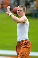 23 September 2006: Texas quarterback Colt McCoy warms up on the field before the Longhorns game against the Iowa State Cyclones at Darrell K Royal Memorial Stadium in Austin, TX.