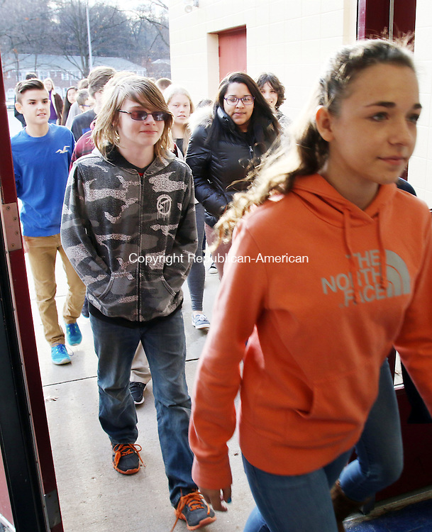TORRINGTON CT. 04 December 2015-120415SV07-Torrington Middle School eighth-graders visit the high school for the first time in Torrington Friday. The middle school had all students visit the high school to show the students around and see what opportunities are available to them. <br /> Steven Valenti Republican-American