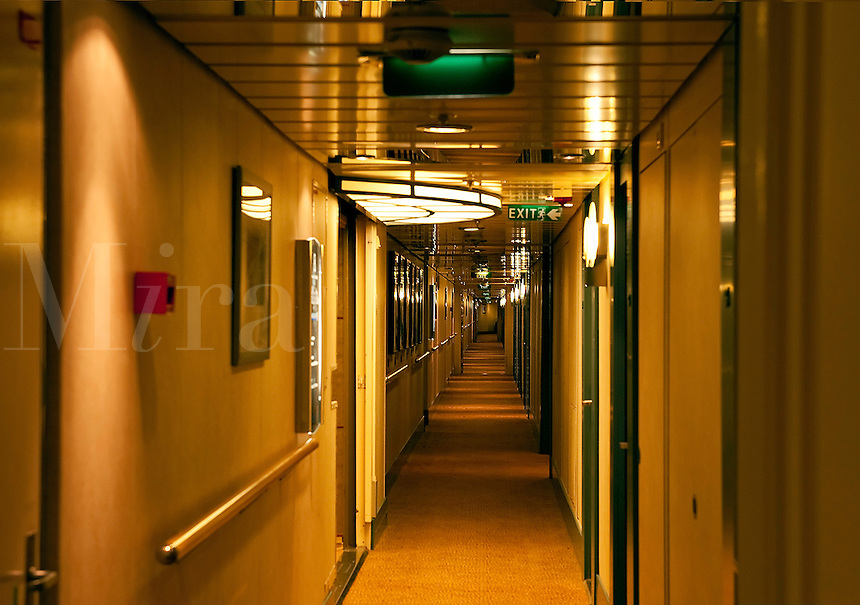 Cruise ship cabins and hallway.