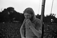 Duane Allman of The Allman Brothers Band takes a break after a performance at the Sunset concert series 'Summerthing' at Boston Common in Boston, MA in the summer of 1971. © Peter Tarnoff / MediaPunch