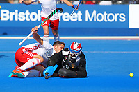 England's Mark Gleghorne watches as his shot beats Malaysian goalkeeper Kumar Subramiam to score Englands 7th goal  during the Hockey World League Semi-Final Pool A match between England and Malaysia at the Olympic Park, London, England on 17 June 2017. Photo by Steve McCarthy.