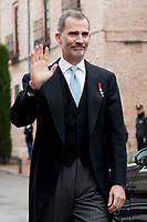 Kings of Spain, King Felipe VI of Spain and Queen Letizia of Spain delivers the Cervantes prize for literature in Spanish to the Uruguayan writer Ida Vitale at the Paraninfo of the Alcala University in the World Heritage City of Alcala de Henares near Madrid on April 23, 2019.<br /> King Felipe VI of Spain greets people after prize