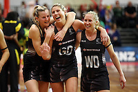11.09.2016 Silver Ferns Katrina Grant, Storm Purvis and Laura Langman during the Taini Jamison netball match between the Silver Ferns and Jamaica played at Trafalgar Centre in Nelson. Mandatory Photo Credit ©Michael Bradley.