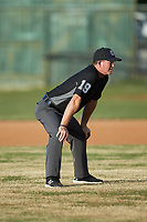 Umpire Gary Keller handles the calls on the bases during the Southern Collegiate Baseball League game between the Lake Norman Copperheads and the Mooresville Spinners at Moor Park on July 6, 2020 in Mooresville, NC.  The Spinners defeated the Copperheads 3-2. (Brian Westerholt/Four Seam Images)
