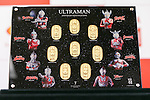 A commemorative set of 24k gold coins of Japanese superhero Ultraman on display at the Ginza Tanaka jewelry store on January 25, 2017, Tokyo, Japan. To coincide with the 50th anniversary broadcast of the Ultraman television series, Ginza Tanaka has released a pure gold commemorative bust of the superhero measuring 30 cm height weighing 11kg. It is valued at 110,000,000 JPY (approximately 1,000,000 USD.) The store is also selling a set of 24k gold coins and a commemorative plate until January 31. The Japanese TV series was first aired in 1966. (Photo by Rodrigo Reyes Marin/AFLO)
