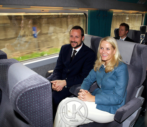 Crown Prince Haakon & Crown Princess Mette Marit of Norway on board KTX Express train from Seoul to Busan on the third day of the four day visit to South Korea.