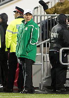 28 March 2012: Club Santos Laguna head coach Benjamin Galindo watches during a CONCACAF Champions League game between the Club Santos Laguna and Toronto FC at BMO Field in Toronto..The game ended in a 1-1 draw...