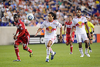 Stephane Auvray (25) of the New York Red Bulls. The New York Red Bulls and the Chicago Fire played to a 2-2 tie during a Major League Soccer (MLS) match at Red Bull Arena in Harrison, NJ, on August 13, 2011.