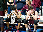 UNCASSVILLE, CT-031818JS21- Sacred Heart's Isiah Gaiter (2) and Zachary Francisco (33) react following their 65-60 loss to Notre Dame-Fairfield in the Division I championship game Sunday at Mohegan Sun Arena. <br /> Jim Shannon Republican-American