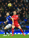 Seamus Coleman of Everton and Leicester's David Nugent - Everton vs. Leicester City - Barclay's Premier League - Goodison Park - Liverpool - 22/02/2015 Pic Philip Oldham/Sportimage