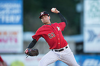 Kannapolis Intimidators starting pitcher Jordan Guerrero (23) delivers a pitch to the plate against the Hickory Crawdads at CMC-Northeast Stadium on May 22, 2015 in Kannapolis, North Carolina.  The Intimidators defeated the Crawdads 4-3.  (Brian Westerholt/Four Seam Images)