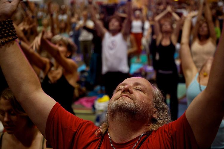 Global Mala Project (GMP) event.  The aducience and Shiva Rea celebrating.
