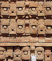 "Detail of the western façade of the Codz Poop (""Rolled-up matting"" in Maya), originally covered with 250 stone masks of Chaac, the big-nosed god of rain, Puuc Architecture, 700-900 AD, Kabah, Yucatan, Mexico. Picture by Manuel Cohen"