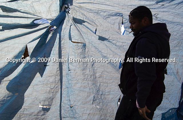 at Tent City 3 at Calvin Presbyterian Church Saturday February 28, 2009 in Shoreline, WA.