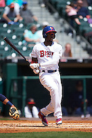 Buffalo Bisons left fielder Domonic Brown (9) during a game against the Toledo Mudhens on May 18, 2016 at Coca-Cola Field in Buffalo, New York.  Buffalo defeated Toledo 7-5.  (Mike Janes/Four Seam Images)