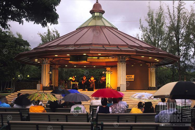 An evening performance at the Kapiolani Park Bandstand in Waikiki, Honolulu