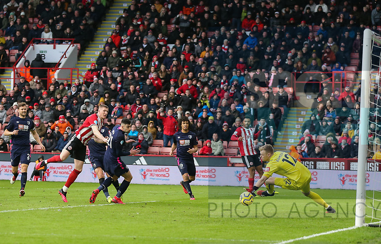John Lundstram of Sheffield Utd scores a goal during the Premier League match at Bramall Lane, Sheffield. Picture date: 9th February 2020. Picture credit should read: Chloe Hudson/Sportimage