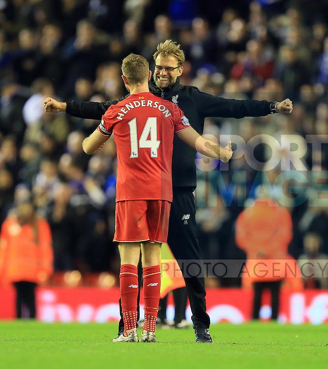 Liverpool's Jurgen Klopp celebrates with Jordan Henderson<br /> <br /> Barclays Premier League- Liverpool vs Leicester City - Anfield - England - 26th December 2015 - Picture David Klein/Sportimage