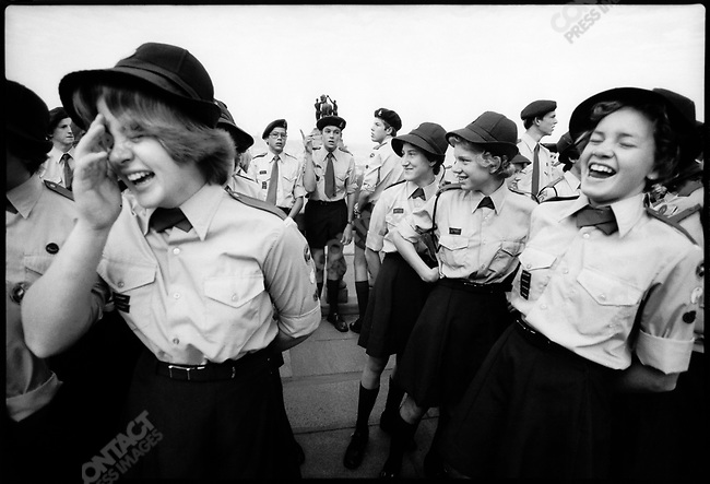 Voortrekers, Afrikaner Girl and Boy Scouts, during Republic Day. Pretoria, South Africa, June 1976.